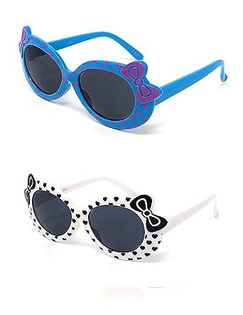 5889db3a31 2 x pour enfants Kids filles 1 violet 1 jaune élégant Hello kitty Style  UV400 lunettes