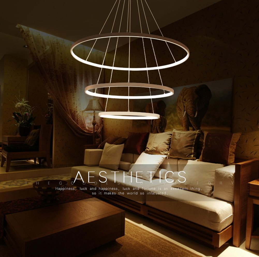 Siljoy White Three Rings 16 24 32 Inches Modern Pendant Ceiling Light Fixture Led Chandelier Lighting Com