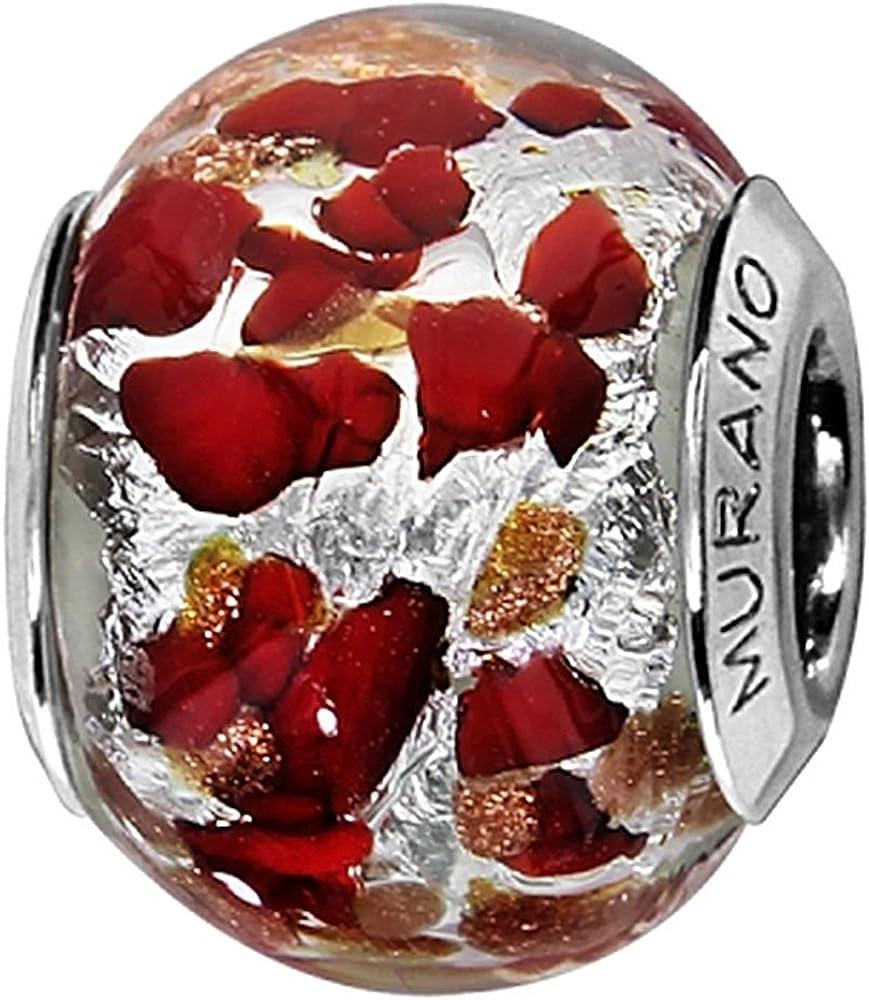 C05150 Gris et rouge Charm Femme Argent rhodi/é et Verre de Murano Thabora