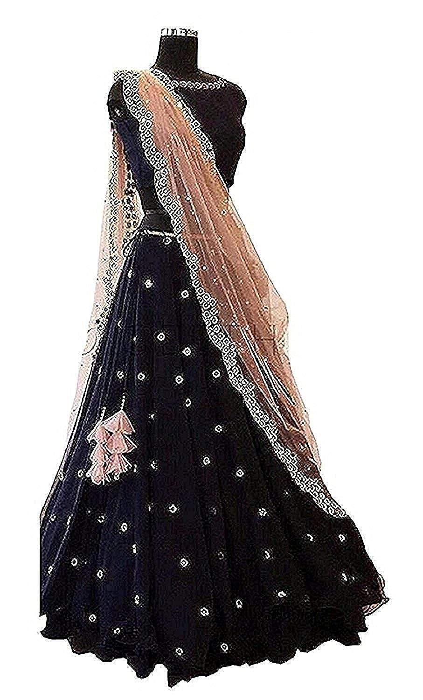 Zinariya Fab Women's Faux Georgette Semi-Stitched Lehanga Choli (Black Bindi _Black_ Free)