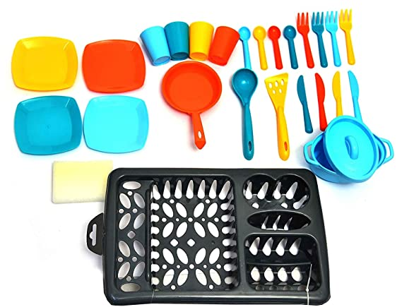 Toys Bhoomi 26 Pieces Pretend Play Kids Kitchen Dish Wash Activity Centres Playset with Drainer for Boys and Girls Toy