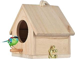 Wooden Bird House, Hanging Birdhouse for Outside, Garden Patio Decorative Nest Box Bird House for Wren Swallow Sparrow Hummingbird Finch Throstle