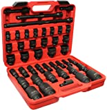 """ABN 1/2"""" Inch Drive SAE Standard Master Deep & Shallow Impact Socket 43-Piece Set 3/8–1-1/2"""" w/ Extension & Swivel Joint"""