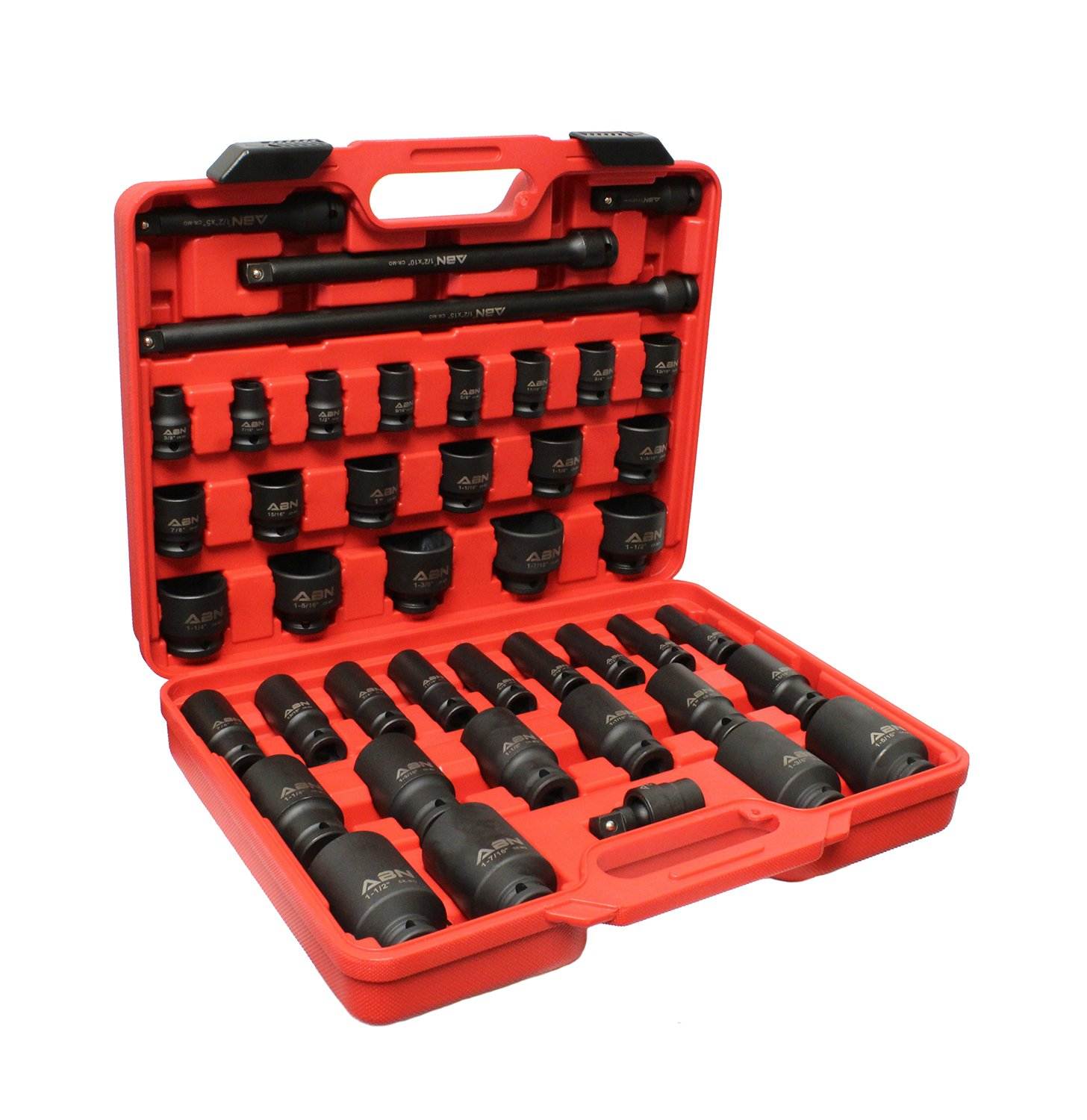 "ABN 1/2'' Inch Drive SAE Standard Master Deep & Shallow Impact Socket 43-Piece Set 3/8–1-1/2"" w/ Extension & Swivel Joint"