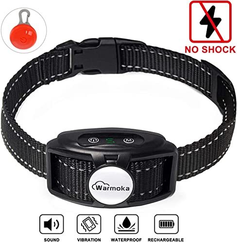 Warmoka Bark Collar Humane, No Shock Bark Control Device with Dual Vibration Motor 3rd Generation Smart Detection , Rechargeable,Waterproof, Anti-Bark Training Collar for Small Medium and Large Dogs