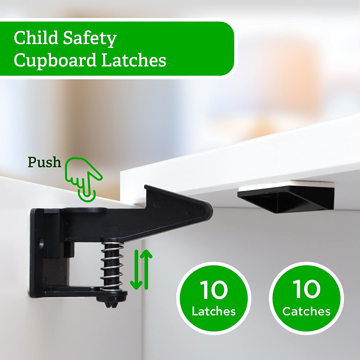 Baby Guard - Child Safety Cupboard Latches, 10 Packs, Easy to Install, No Tools or Drilling Needed, Invisible Design with Latches and BONUS Installation Videos - Black