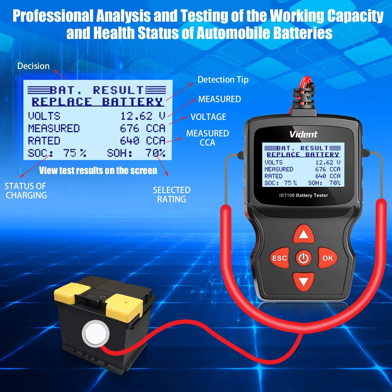 AGM,Gel 100-1100 CCA Automotive Tester for Passenger Cars and Light Duty Trucks VIDENT iBT100 Car Battery Tester 12V Battery Analyzer for Flooded