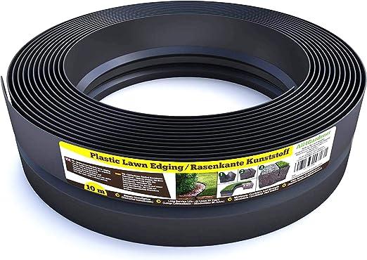Flexible Borde de Jardín - Bordillo Escondido Plastico - Longitud 10 m (120 mm) - Instalación Simple, Flexibilidad Máxima, Suficientemente Fuerte, Made in EU - Borduras Jardín, Bordillos Para Jardín: Amazon.es: Jardín