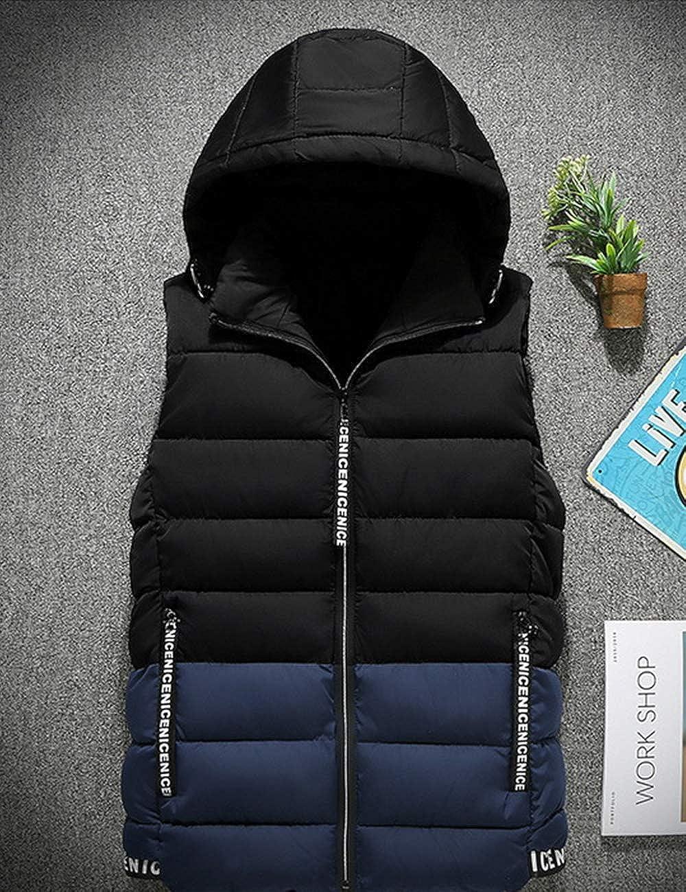Zhhlinyuan Mens Winter Down Coat Vest Jacket Slim Sleeveless Hooded Waistcoats