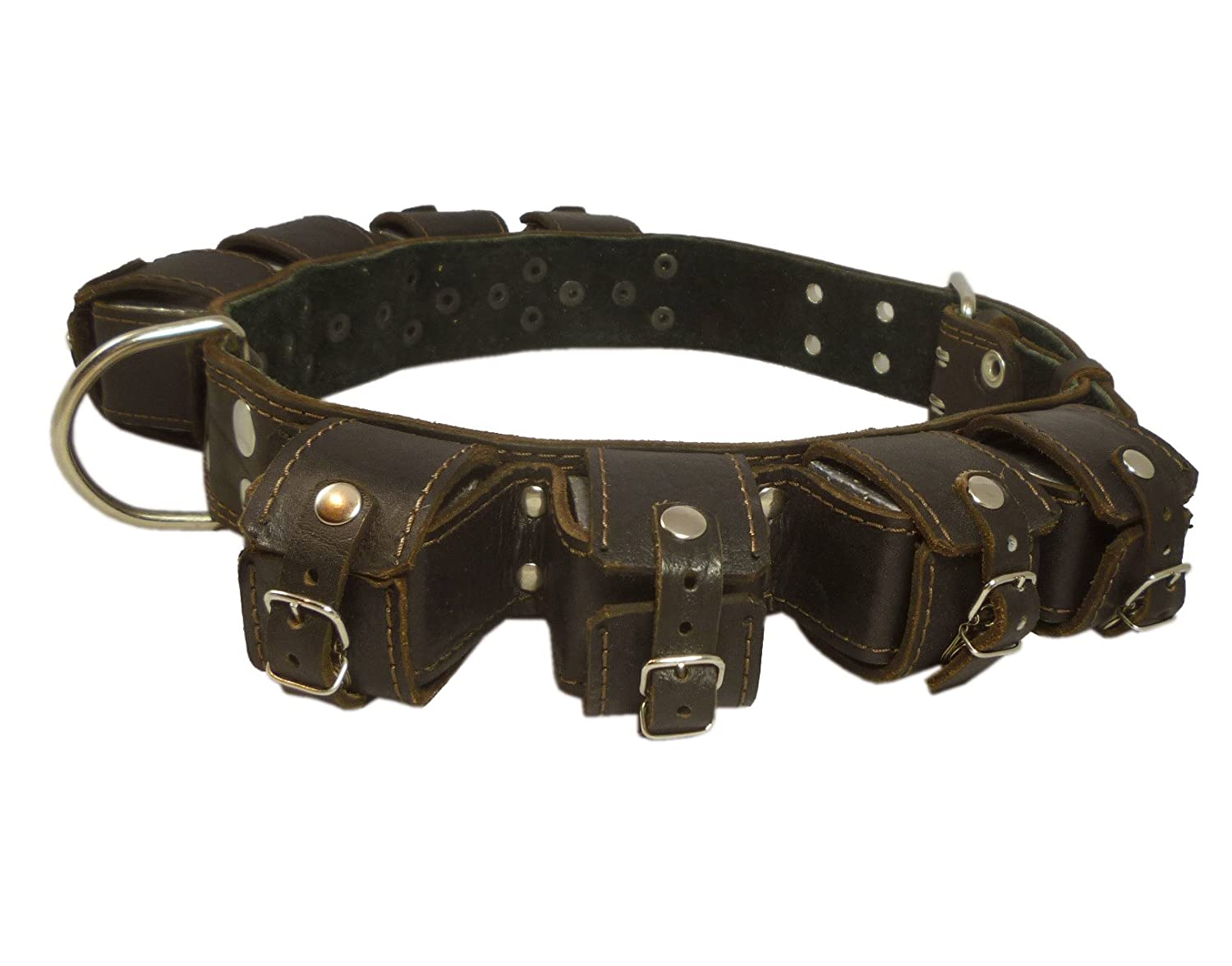 8lbs Genuine Leather Weighted Dog Collar 2 Wide. Exercise and Training. Fits 24 -30 Neck Size