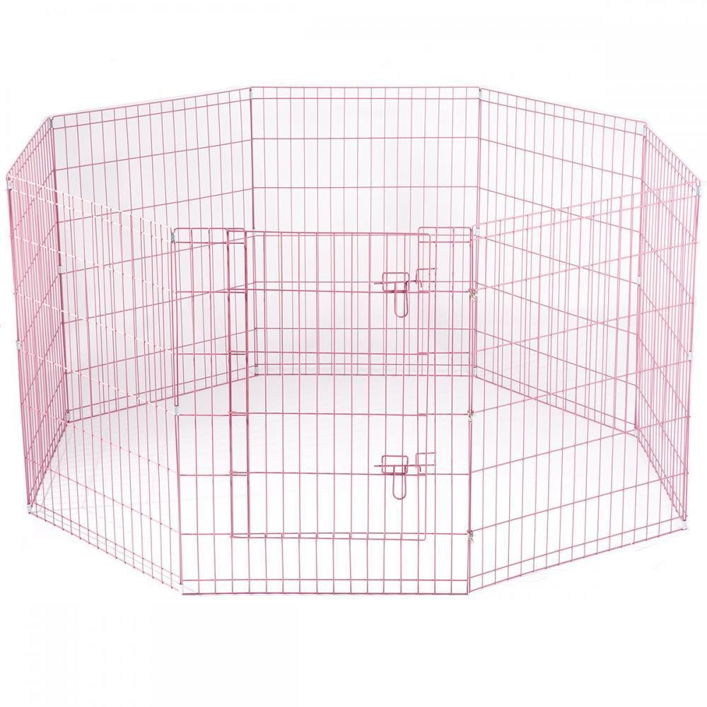 Pink Pet Dog Fench Flding Metal PlayPen Yard 8 Panel With Carry Case