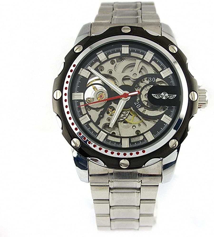 Carrie Hughes Men s IK Gear Skeleton Automatic Mechanical Luminous Dial Stainless Steel Watch CH666 CH666