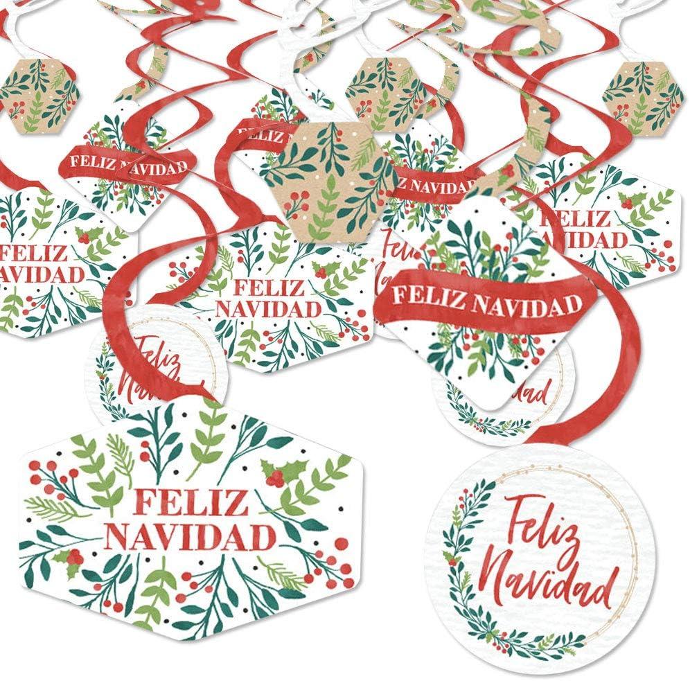 Big Dot of Happiness Feliz Navidad - Holiday and Spanish Christmas Party Hanging Decor - Party Decoration Swirls - Set of 40