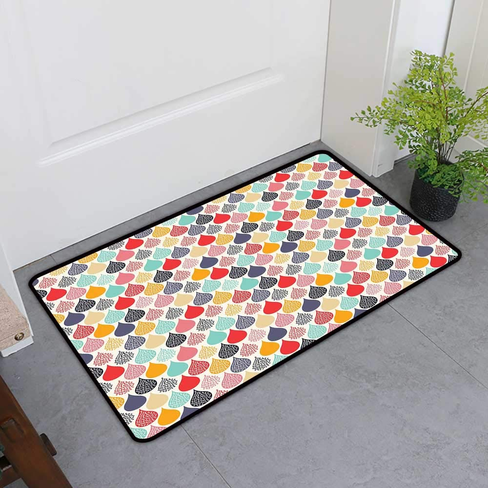 TableCovers&Home Boots Scraper Mat, Geometric Custom Imdoor Rugs for Living Room, Raindrops Doodle Style Cute Creative Leaf Shaped Colorful Girls Kids Baby Theme (Multicolor, H20 x W32)