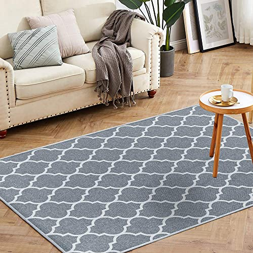 jinchan Trellis Area Rug Floorcover Moroccan Tile Low Pile Indoor Carpet for Dining Room Charcoal Grey 3 x 5 3