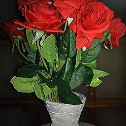 Amazon Shacos 造花 ローズ バラの蕾 薔薇 シルク製 インテリア 本物そっくり リアル きれい 可愛い フラワーアレンジ ソフト触感 枯れない花 結婚式 プロポーズ 誕生日 バレンタインデー 母の日 家庭 転居 お祝い お見舞い プレゼント シャンパン 飾り 装飾 10本セット