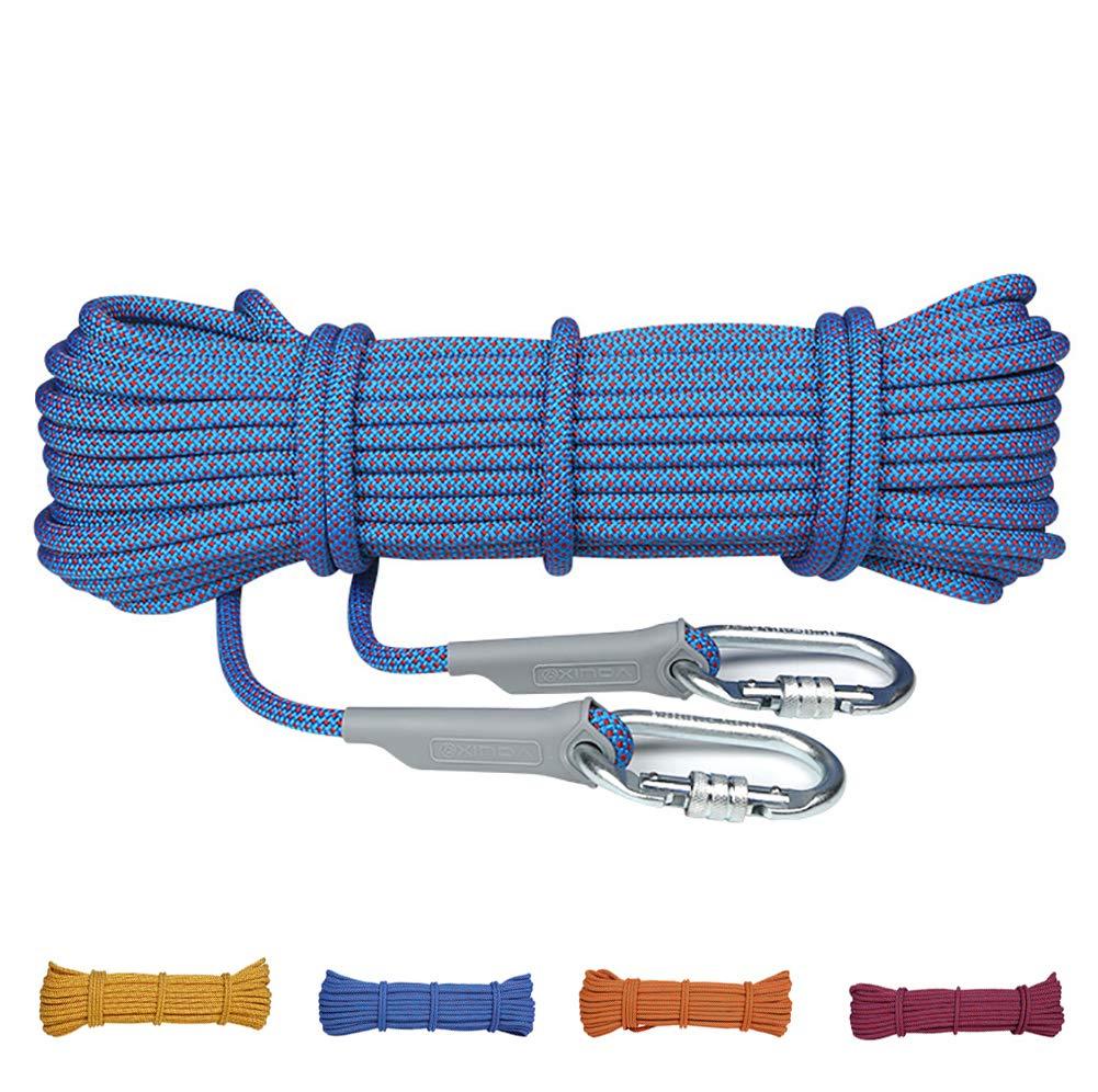 Bleu AMCER Cordes d'Escalade Sport Ficelage Corde Auxiliaire Polyester Nylon Equipement de Prougeection pour Le Randonnée, L'alpinisme, Montagne - Bleu 12mm 100m
