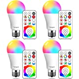 Yangcsl 120 Colors E26 Dimmable Color Changing LED Light Bulbs with Remote Control, Memory & sync, Daylight White & RGB Multi