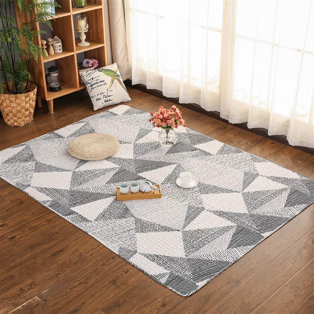 Liveinu Baumwolle Teppich mit Anti-Rutsch Unterstützung Faltbarer Abwaschbarer Japanische Tatami Kriechende Matte Spieldecke Fußboden Krabbeldecke 210x220cm Geometrisches Schwarz B07JQPK44M Teppiche