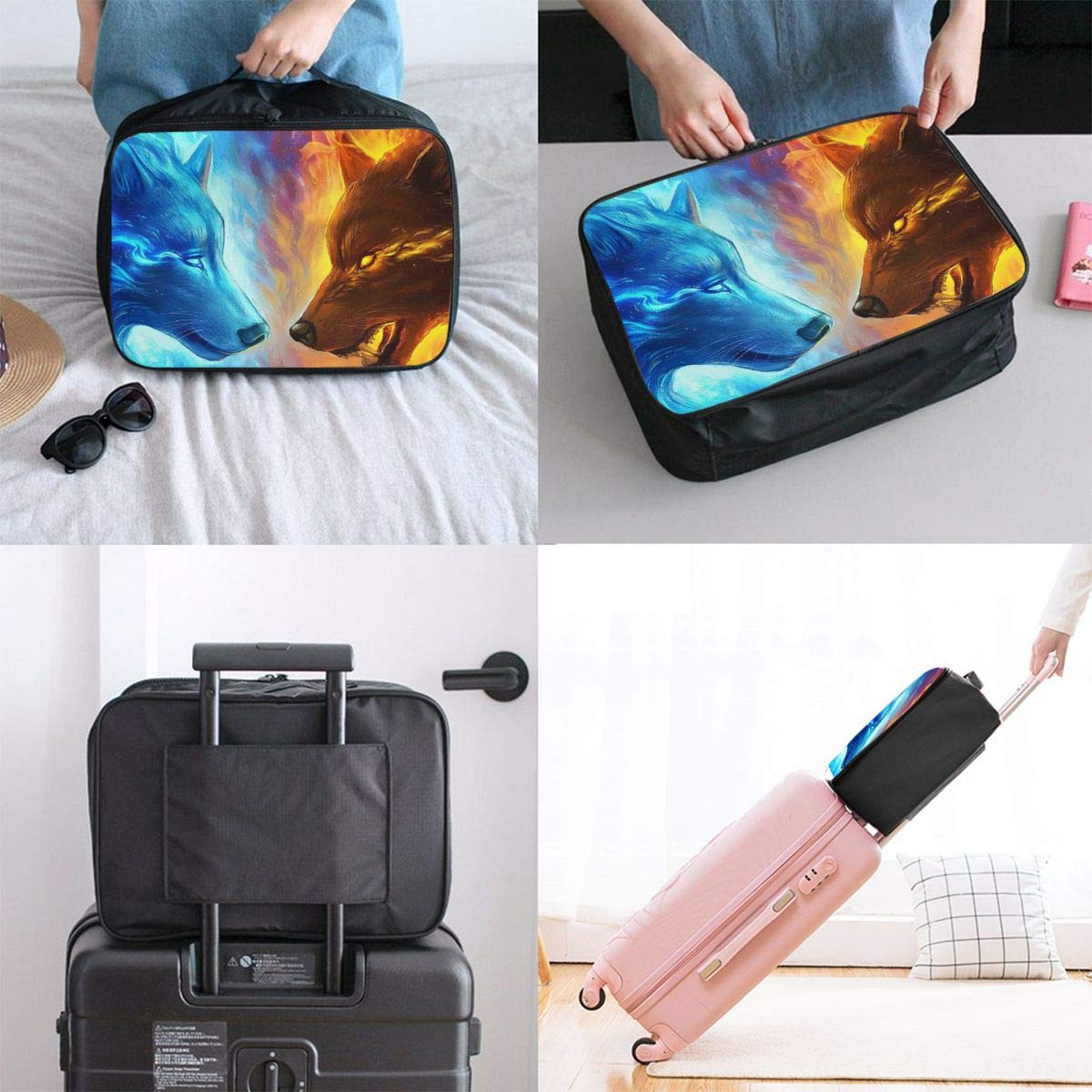 Travel Luggage Duffle Bag Lightweight Portable Handbag Ice Fire Wolf Print Large Capacity Waterproof Foldable Storage Tote