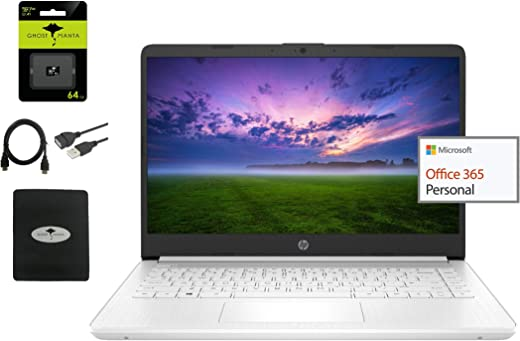 """2021 HP Stream 14"""" HD Laptop Light-Weight, Intel N4020 (Up tp 2.8GHz), 4GB RAM, 64GB eMMC, 1 Year Office 365, Webcam, HDMI, Google Classroom or Zoom Compatible, w/64GB SD Card+Ghost Manta Accessories"""