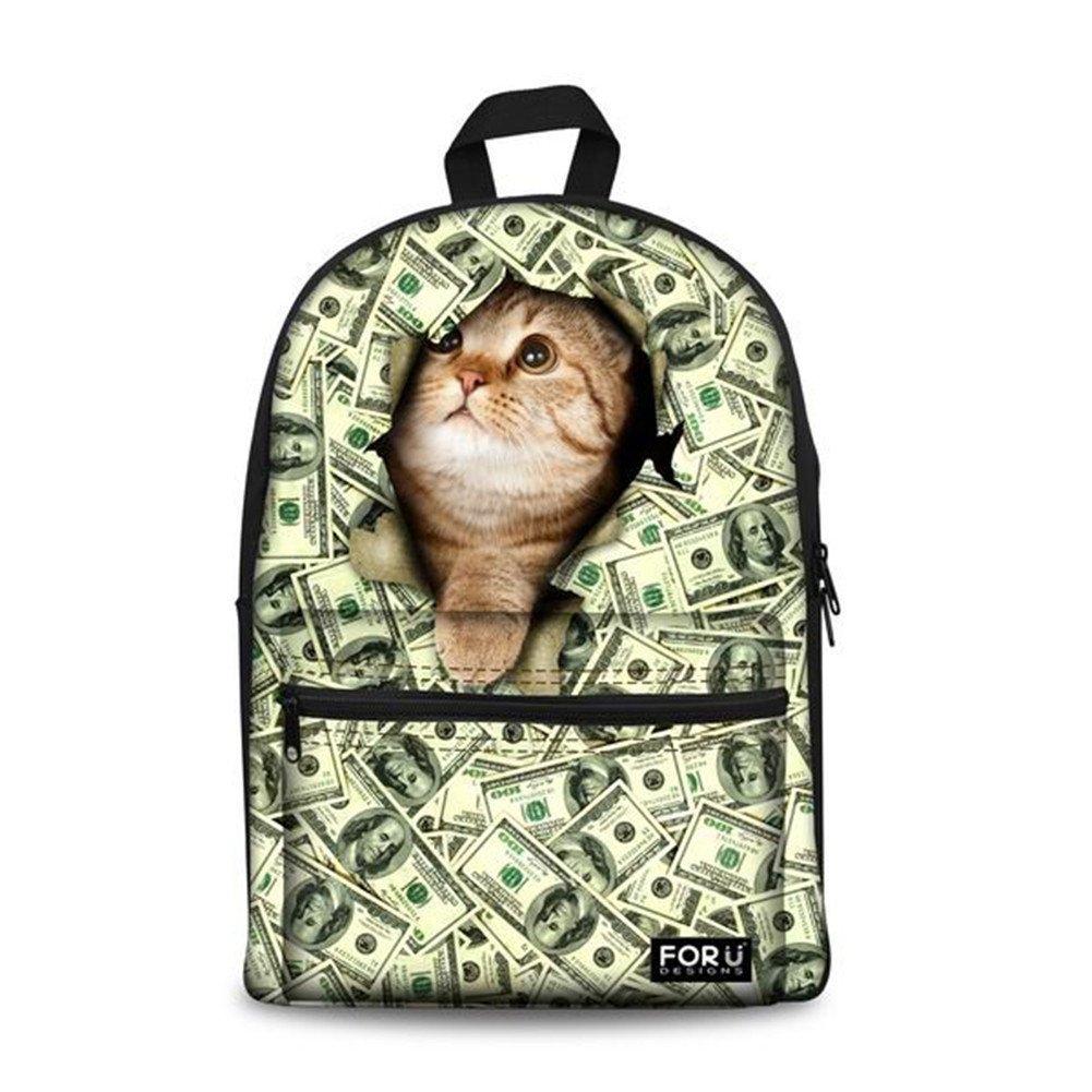 Bigcardesigns Money Cat Canvas Bookbag Backpack by Bigcardesigns