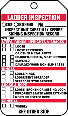 PF-Cardstock Pack of 25 INSPECT UNIT CAREFULLY BEFORE SIGNING INSPECTION RECORD Accuform Signs TRS340CTP Ladder Status Tag Legend LADDER INSPECTION 5.75 Length x 3.25 Width x 0.010 Thickness Red//Black on White