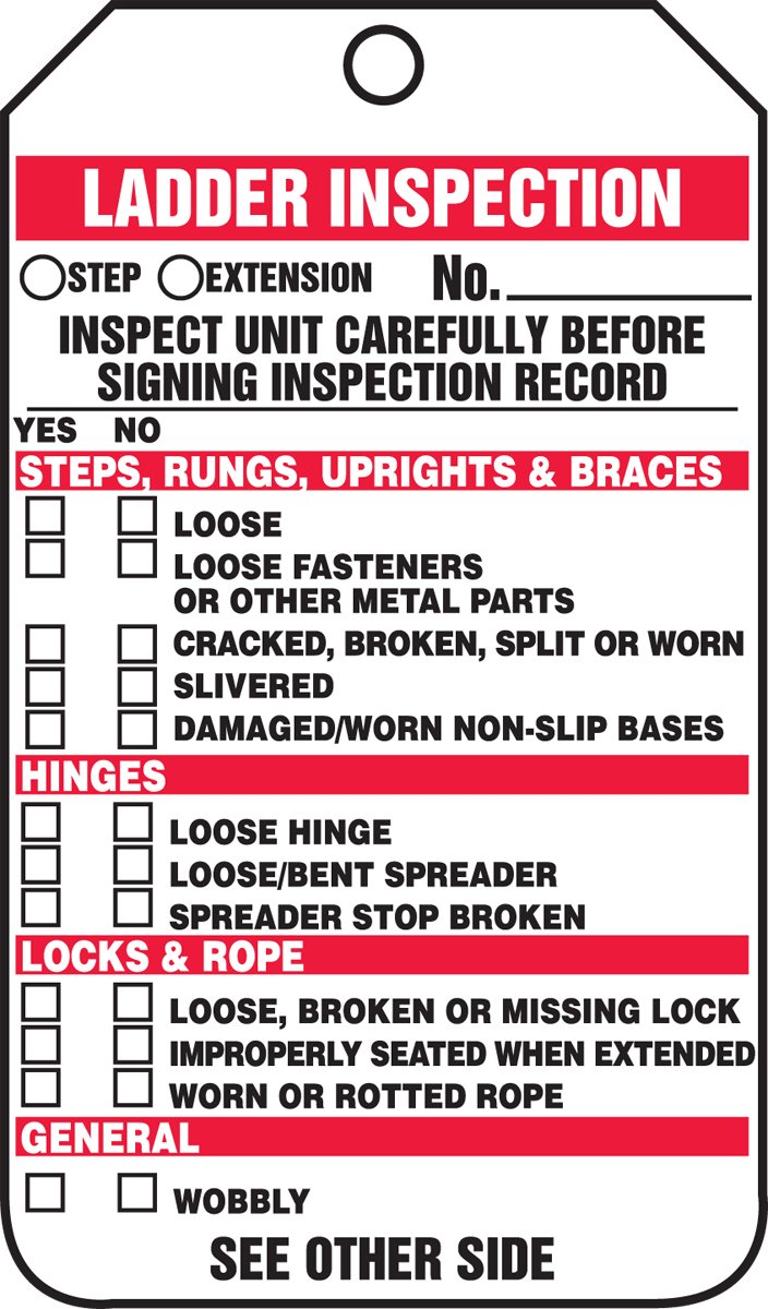 Accuform TRS340CTP Ladder Status Tag, Legend ''LADDER INSPECTION - INSPECT UNIT CAREFULLY BEFORE SIGNING INSPECTION RECORD'', 5.75'' Length x 3.25'' Width x 0.010'' Thickness, PF-Cardstock, Red/Black on White (Pack of 25)
