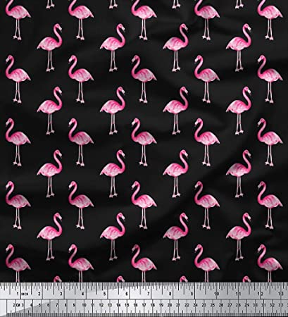 Flamingos /& Palm Trees Cotton Fabric Dressmaking Quilting Craft Ivory