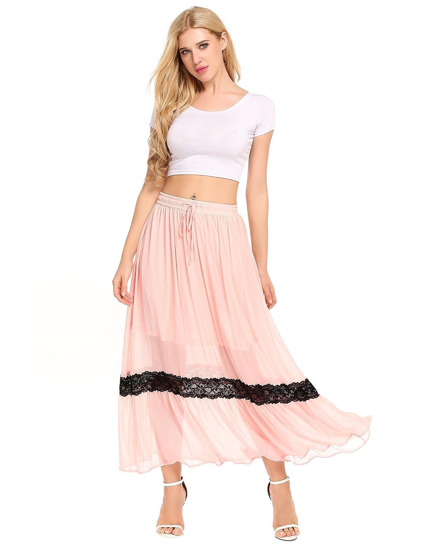 f9eae877f9 FABRIC: Chiffon & Lace Soft, Lightweight, Breathable, Skin-friendly, Flowy  ELASTIC WAIST: High waisted maxi skirt, Elastic waist design with  adjustable belt ...