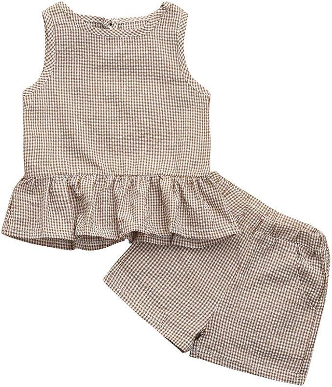 UK Stock Toddler Girls Kids Summer Lace Tops Shirt Skirt Dress 2Pcs Outfits Set