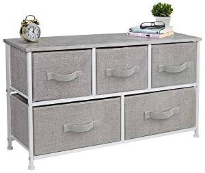 Sorbus Dresser with Drawers - Furniture Storage Tower Unit for Bedroom, Hallway, Closet, Office Organization - Steel Frame, Wood Top, Easy Pull Fabric Bins (5-Drawer, Gray)