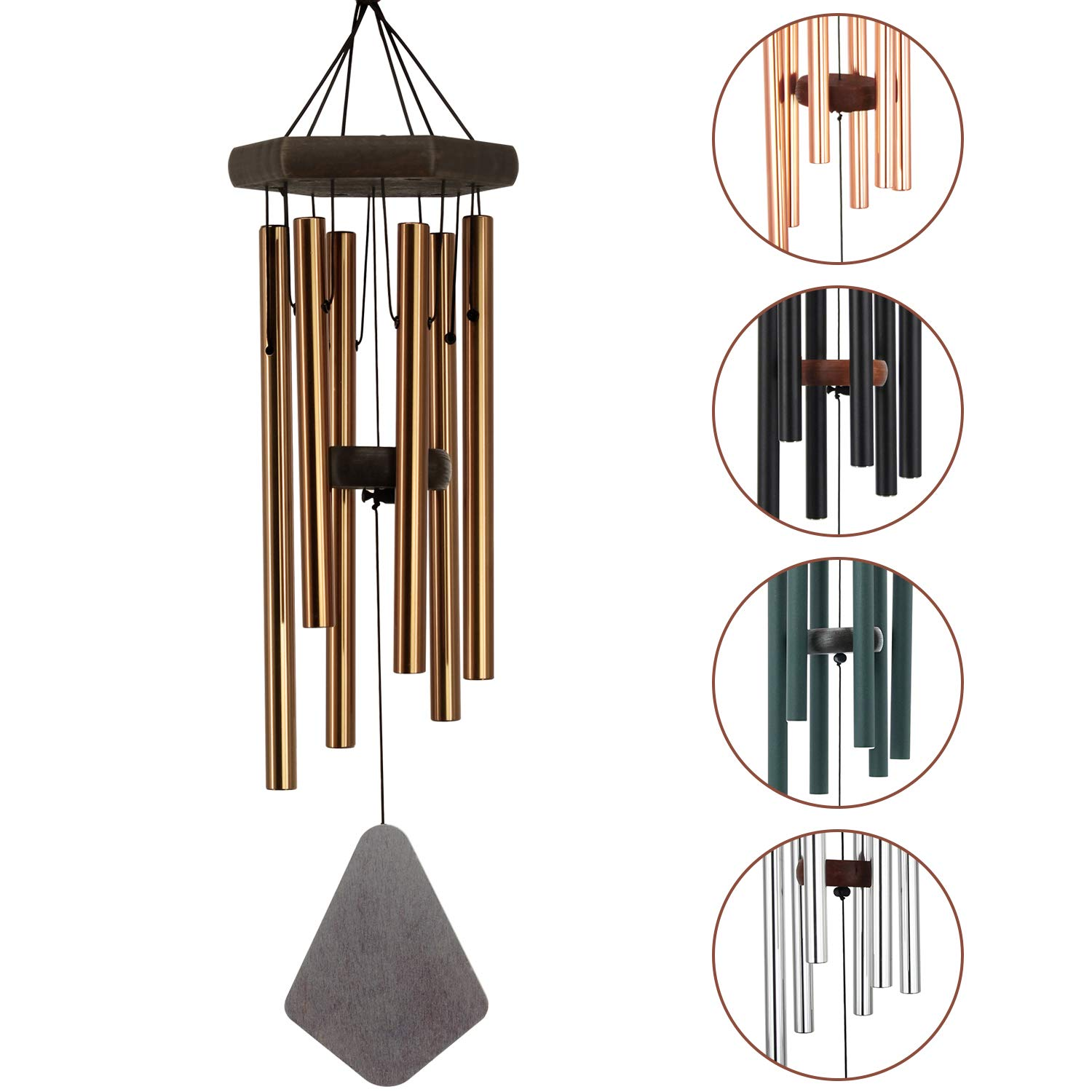 Deep Tone Wind Chimes Outdoor|28 Inches Amazing Grace Bronze Wind Chimes with 6 Aluminum Tubes |Memorial Wind Chimes with Musical Melody for Father, Housewarming Gift, Garden, Yard, Home DÉCor.