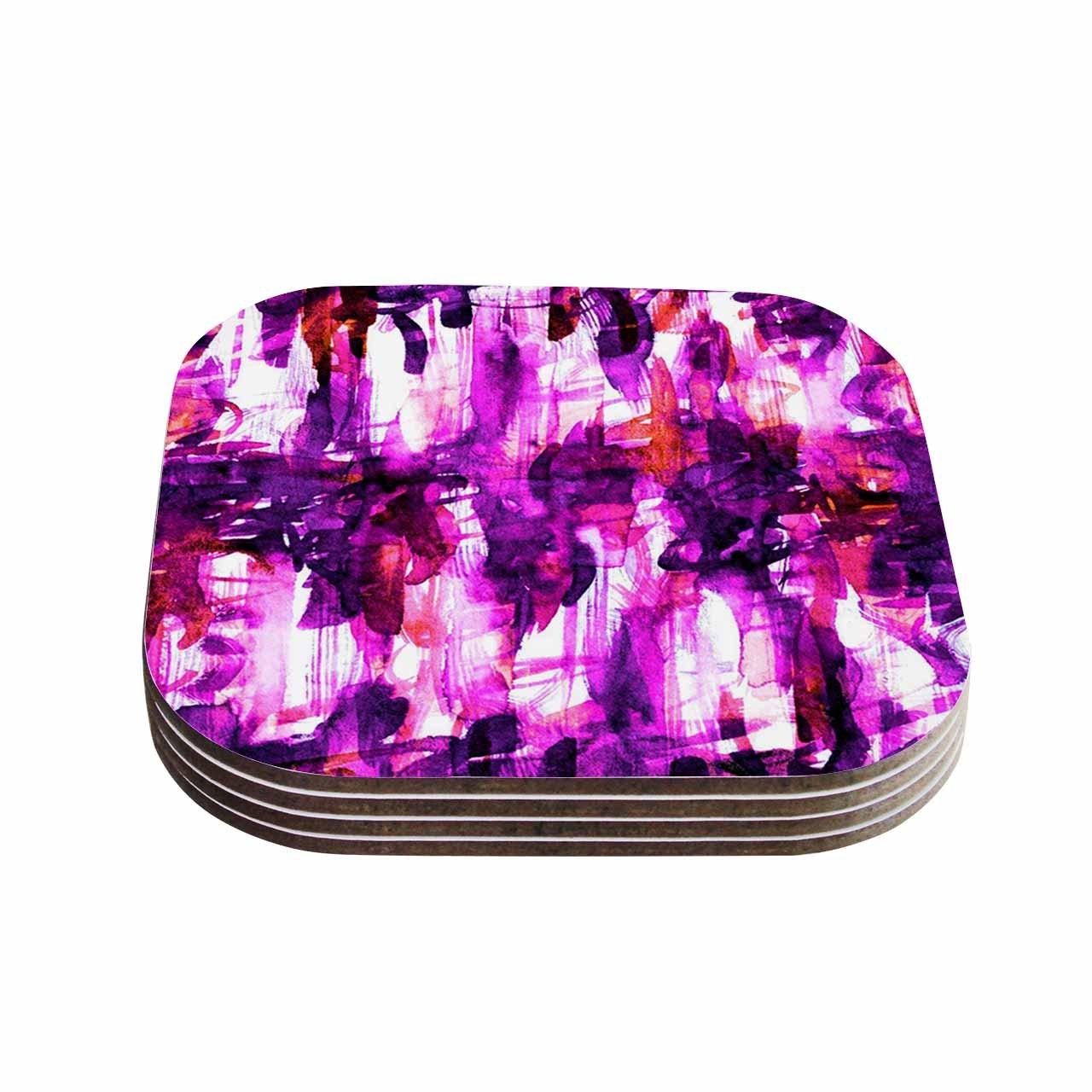 Set of 4 Multicolor KESS InHouse Ebi EmporiumWhite Noise 3 Purple Magenta Coasters 4 x 4