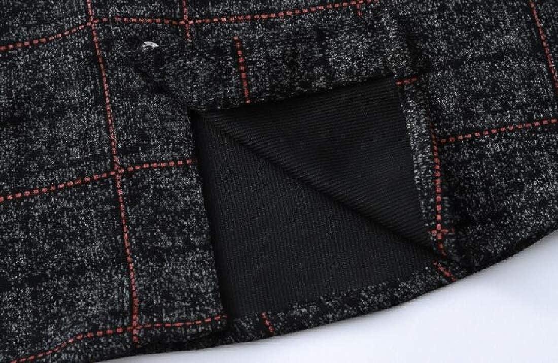 KLJR Men Shirts Plaid Button Down Formal Long Sleeve Loose Dress Work Shirt