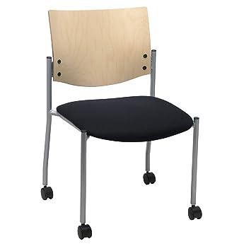 KFI asiento Evolve Guest silla sin reposabrazos con una parte trasera de madera natural y ruedas: Amazon.es: Oficina y papelería