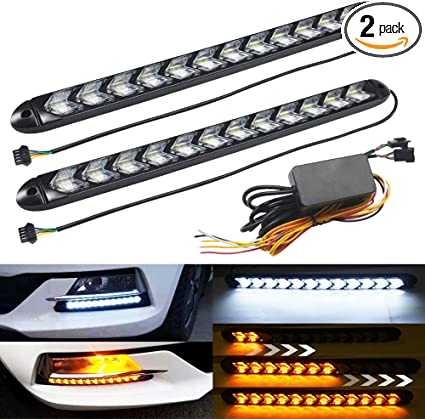 MICTUNING 2Pcs 24 Inch LED light Strip with Dual Color White /& Amber Yellow Headlight Strip Tube Light for DRL Turn Signal Light