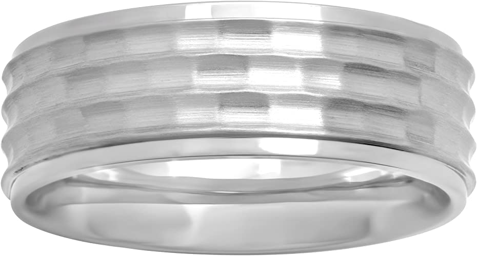 8mm Silver 4 Grooved Polished Band Men/'s Stainless Steel Ring