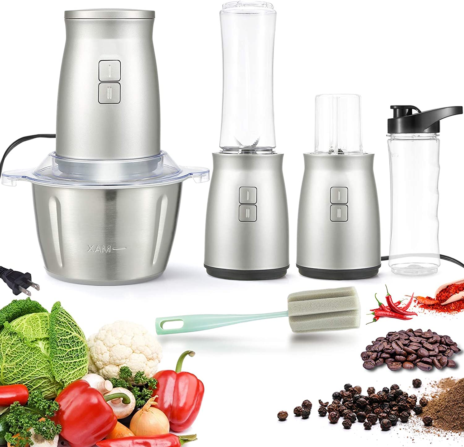 Food Processor, 3 in 1 Electric Food Processor Food Chopper Personal Blender 2L Stainless Steel Kitchen Electric Meat Grinder with 2 Speed and 4 Bi-Level Blades for Meat, Vegetables, Fruits and Nuts