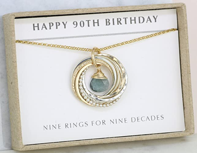 90th Birthday Gift For Mum Necklace Mother Grandma March Birthstone Jewellery