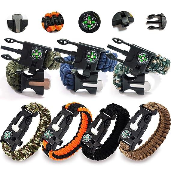 REKYO 7pcs Pulsera de la supervivencia de, brazalete de Paracord, pulsera de emergencia al aire libre, Kit de engranaje de la supervivencia con iniciador de fuego pedernal, raspador