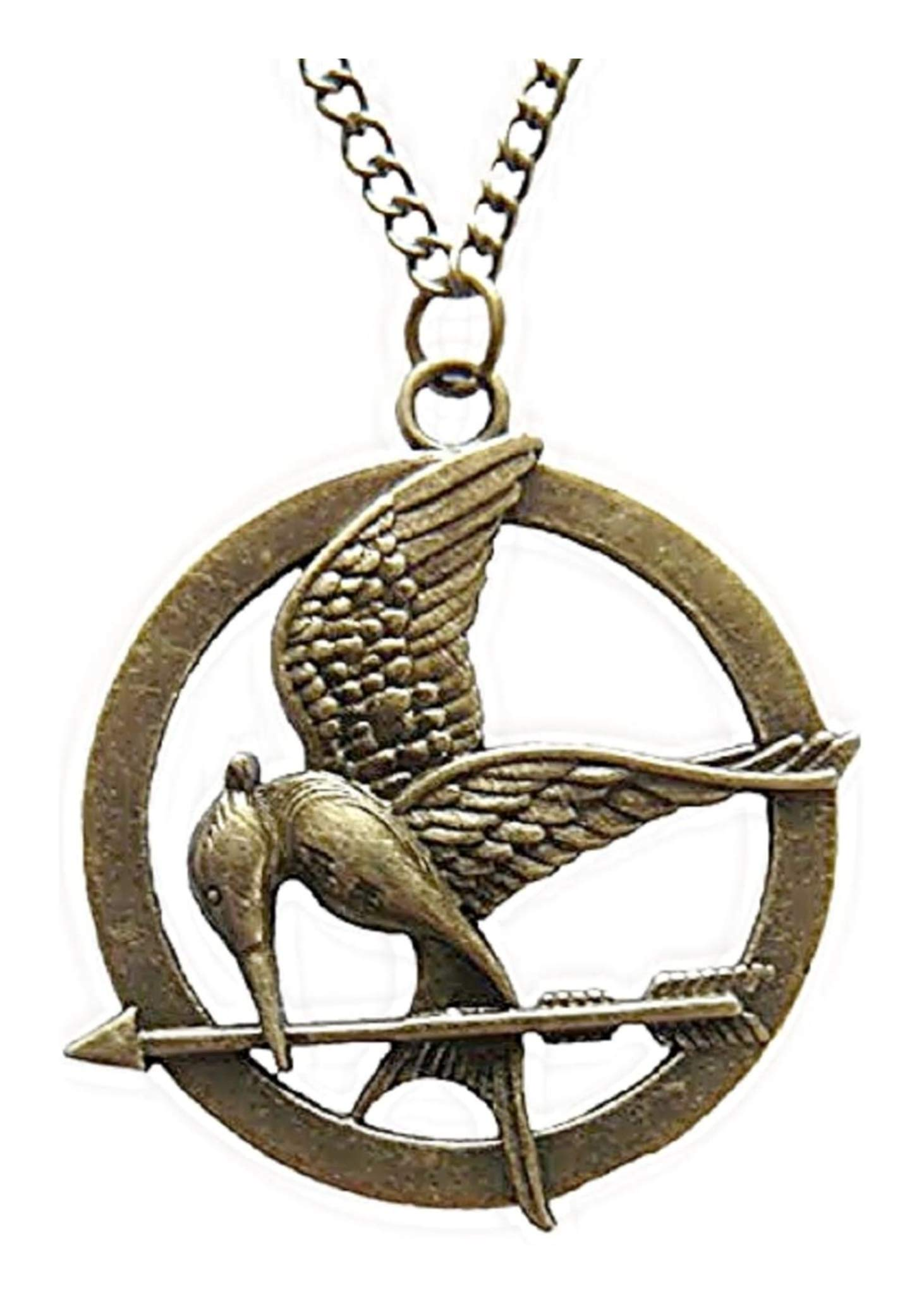 """""""Mockingjay"""" Antique Brass Colored Pendant Necklace Inspired by The Hunger Games with 30"""" Chain Necklace Fashion Necklace"""