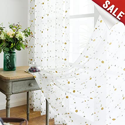 Sheer Curtains For Living Room 84 Inch Length Yellow Embroidered Vintage  Rose Curtain Panels For Bedroom
