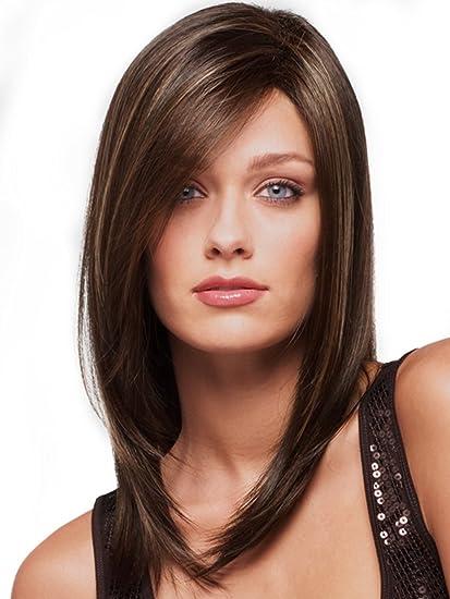 Para mujer largo Wavy 2 tonos marrón mezcla piel parte superior recta peluca pelo