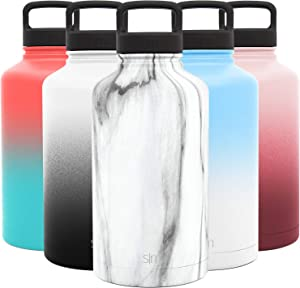 Simple Modern 64 Ounce Summit Water Bottle - Large Stainless Steel Half Gallon Flask +2 Lids - Wide Mouth Double Wall Vacuum Insulated Multi Leakproof Pattern: Carrara Marble