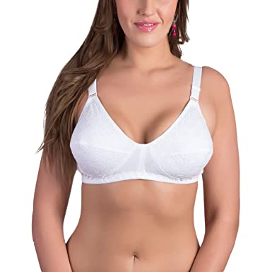bc0691531 Rajnie Plus Size White Floral Embroidery Pure Cotton Bra  Amazon.in ...