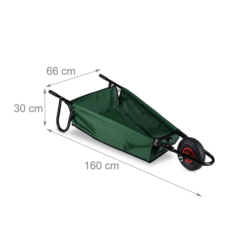 30 x 66 x 160 cm Relaxdays 10020536  Brouette pliable verte grande 90 litres jardin 30 kg acier polyester HxlxP vert