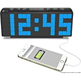 "HDi Audio Large Display 2"" Blue LED Display Digital Alarm Clock Radio with USB Charging for Smartphones & Tablets includes Dual Alarm, Battery Backup, In-door Temperature - HCR-221"