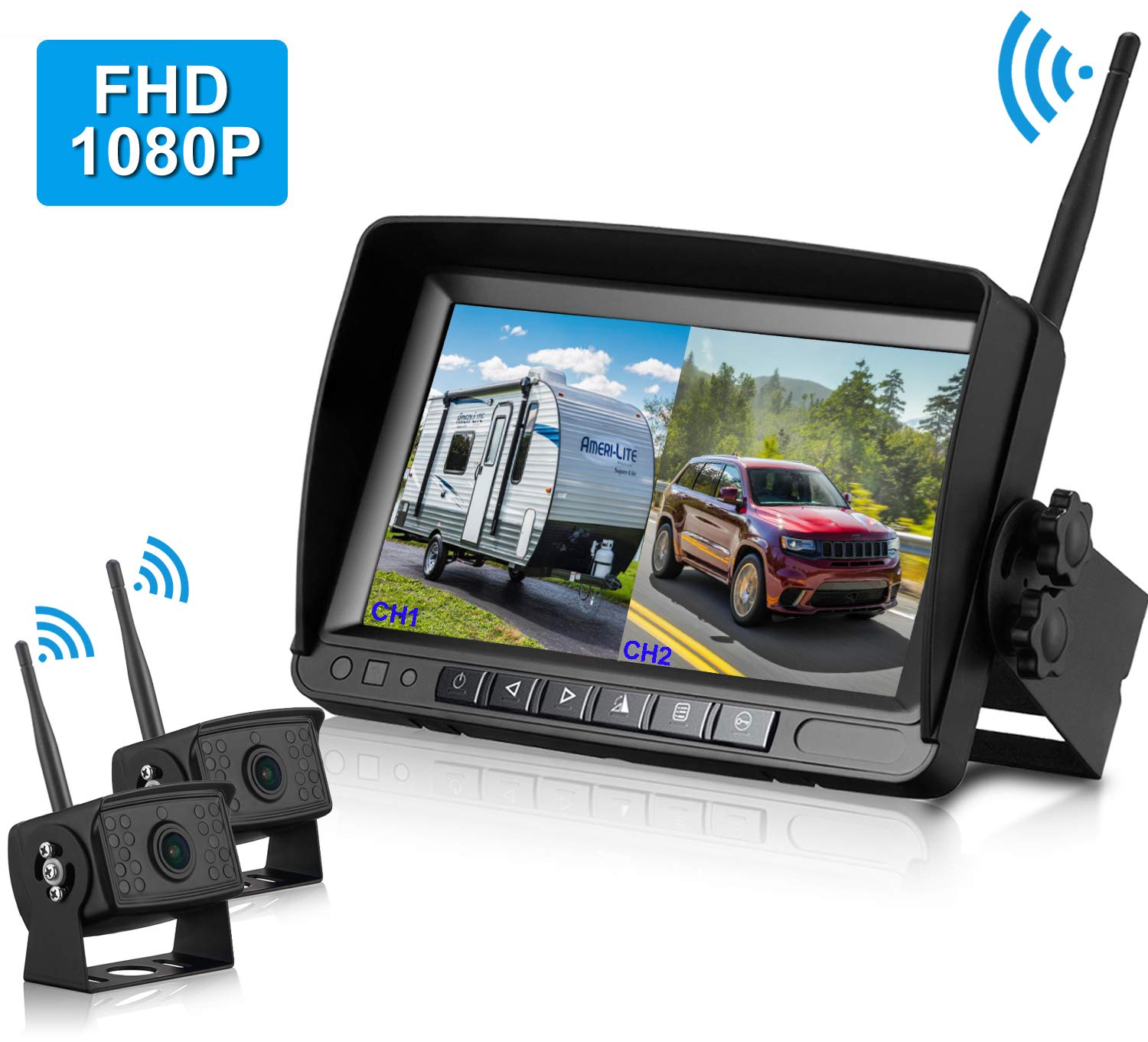 FHD 1080P Digital Wireless Dual Backup Camera 7'' Monitor Kit Split Screen for Trailer/RV/Truck/Camper Rear/Side/Front View Camera Night Vision IP69K Waterproof Driving/Reversing Use by DoHonest