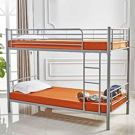 Decoinparis Twins Metal Bunk Bed 90 X 190 Cm With Slatted Frame Grey Amazon De Kuche Haushalt